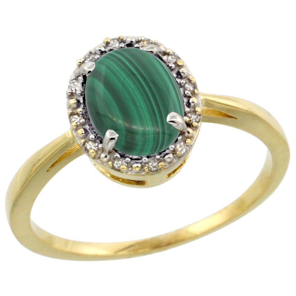 14K Yellow Gold Natural Malachite Ring Oval 8x6 mm Diamond Halo, sizes 5-10
