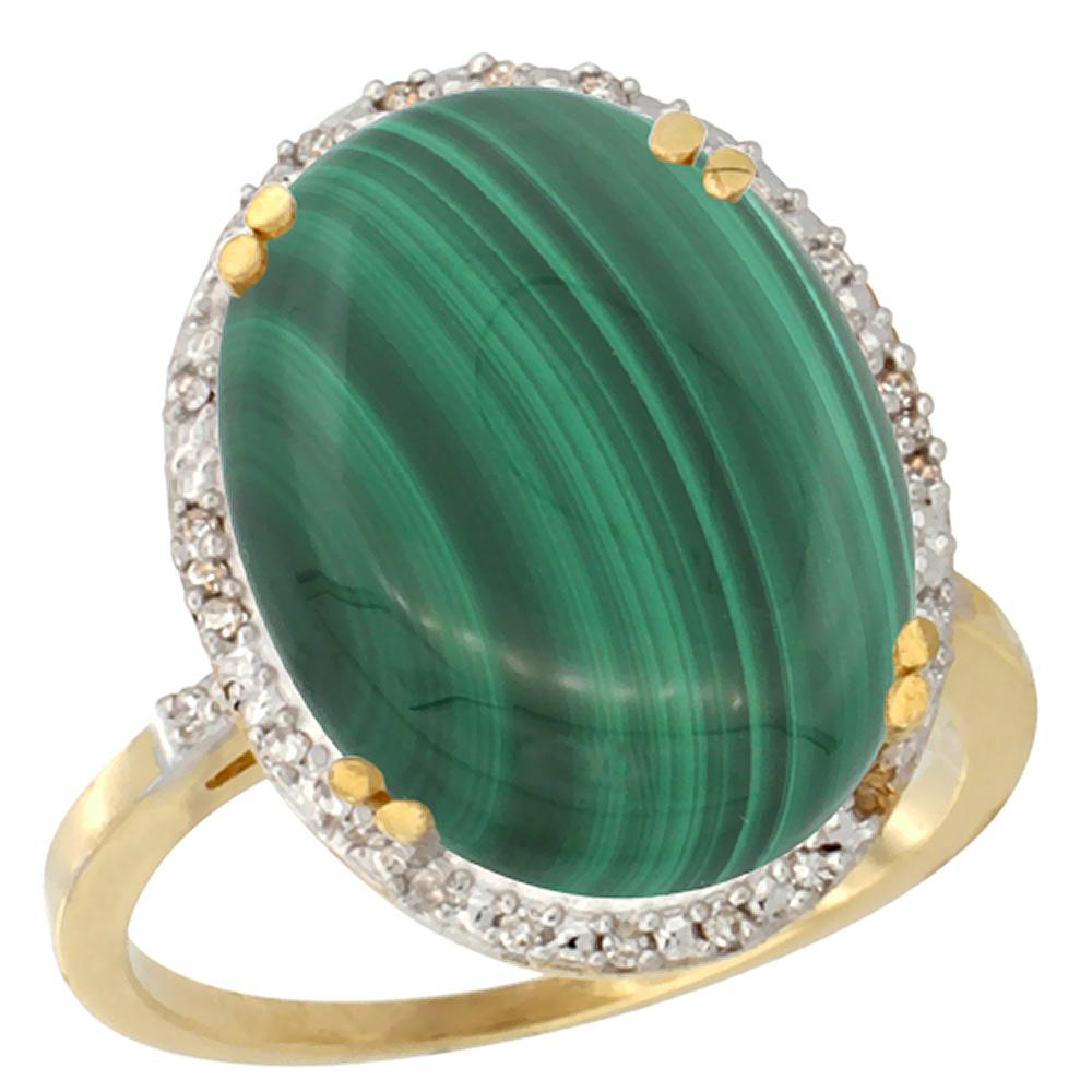 14K Yellow Gold Natural Malachite Ring Large Oval 18x13mm Diamond Halo, sizes 5-10