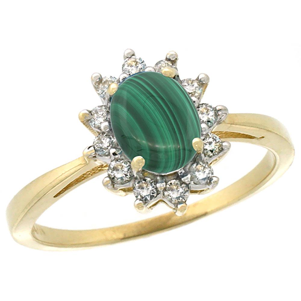14K Yellow Gold Natural Malachite Engagement Ring Oval 7x5mm Diamond Halo, sizes 5-10