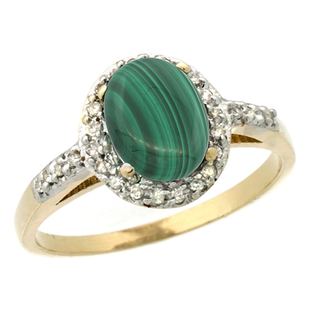 14K Yellow Gold Diamond Natural Malachite Ring Oval 8x6mm, sizes 5-10