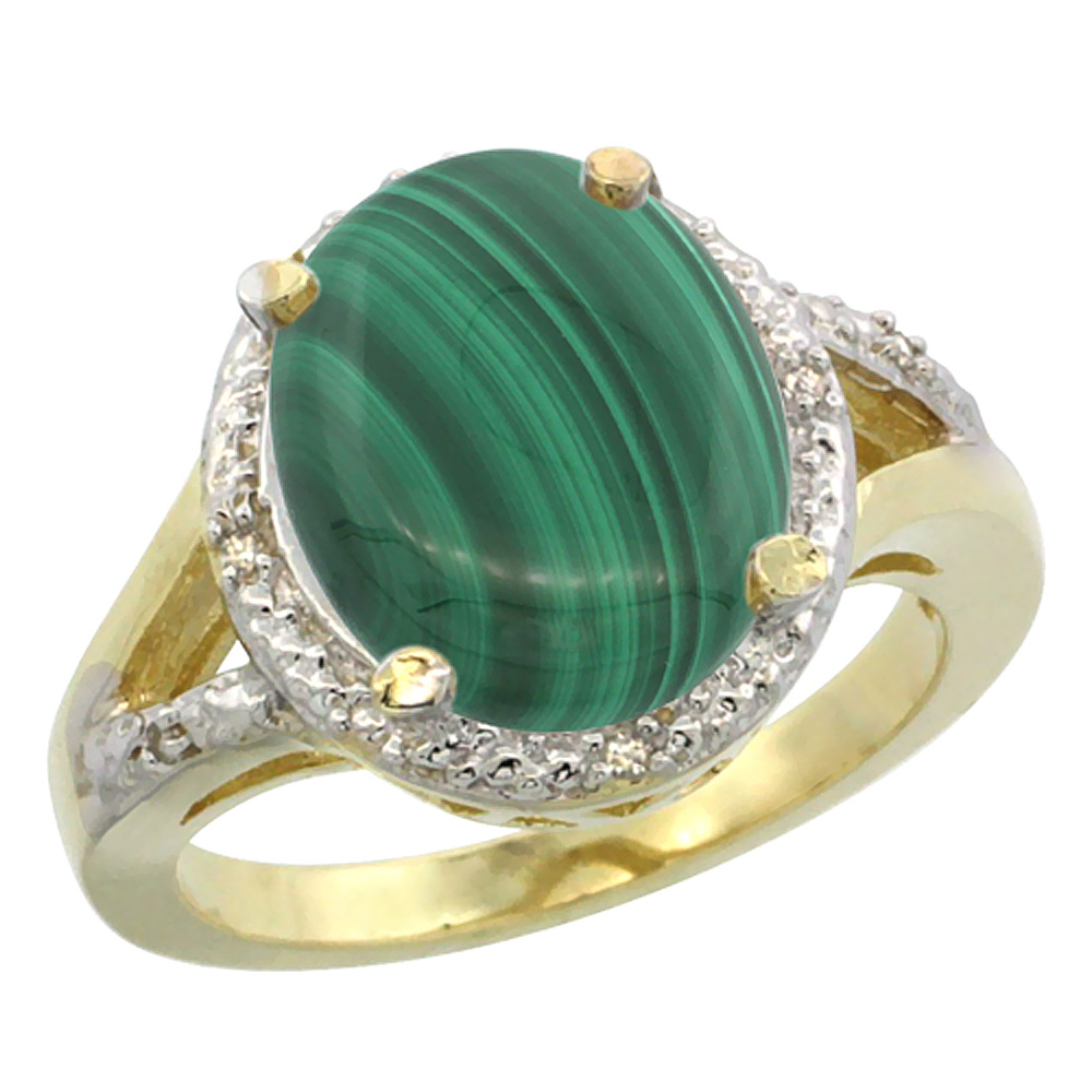 14K Yellow Gold Natural Malachite Ring Oval 12x10mm Diamond Accent, sizes 5-10