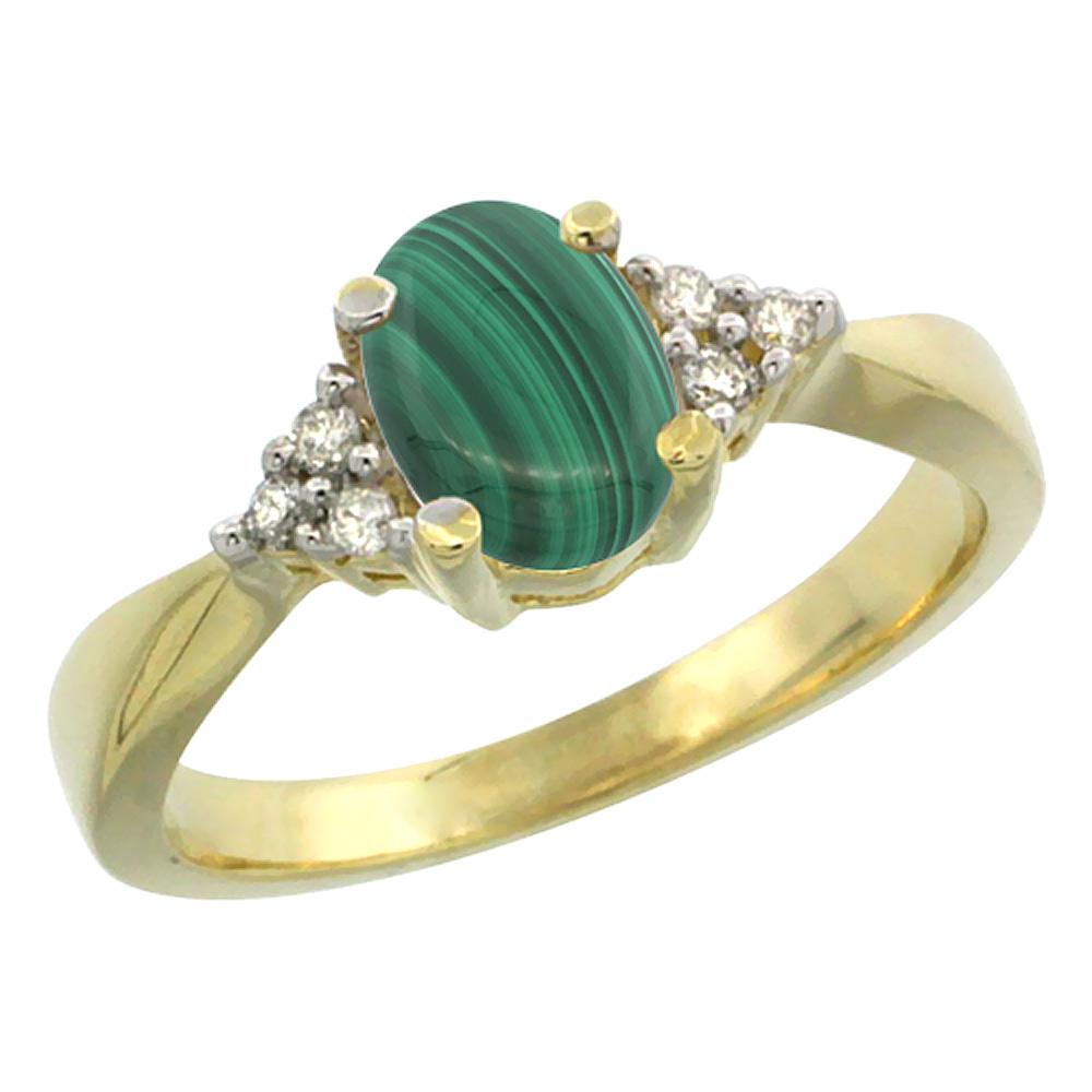 14K Yellow Gold Diamond Natural Malachite Engagement Ring Oval 7x5mm, sizes 5-10
