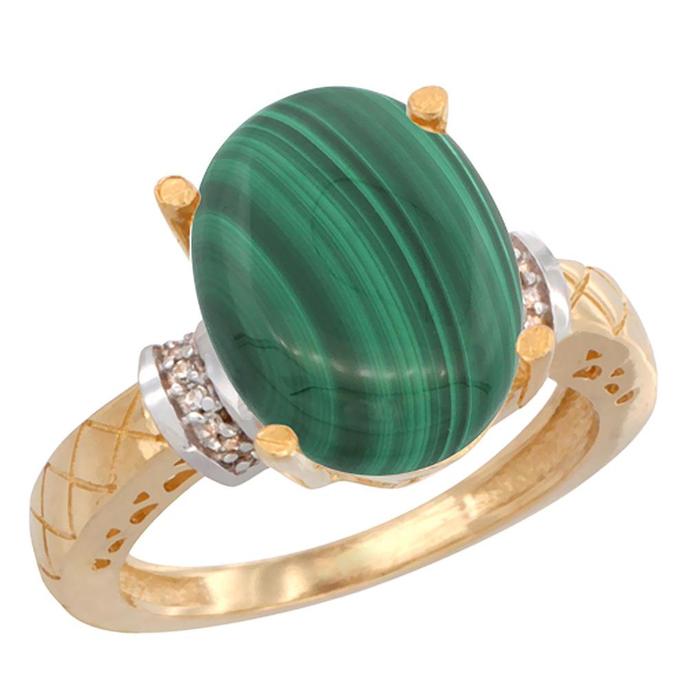 14K Yellow Gold Diamond Natural Malachite Ring Oval 14x10mm, sizes 5-10