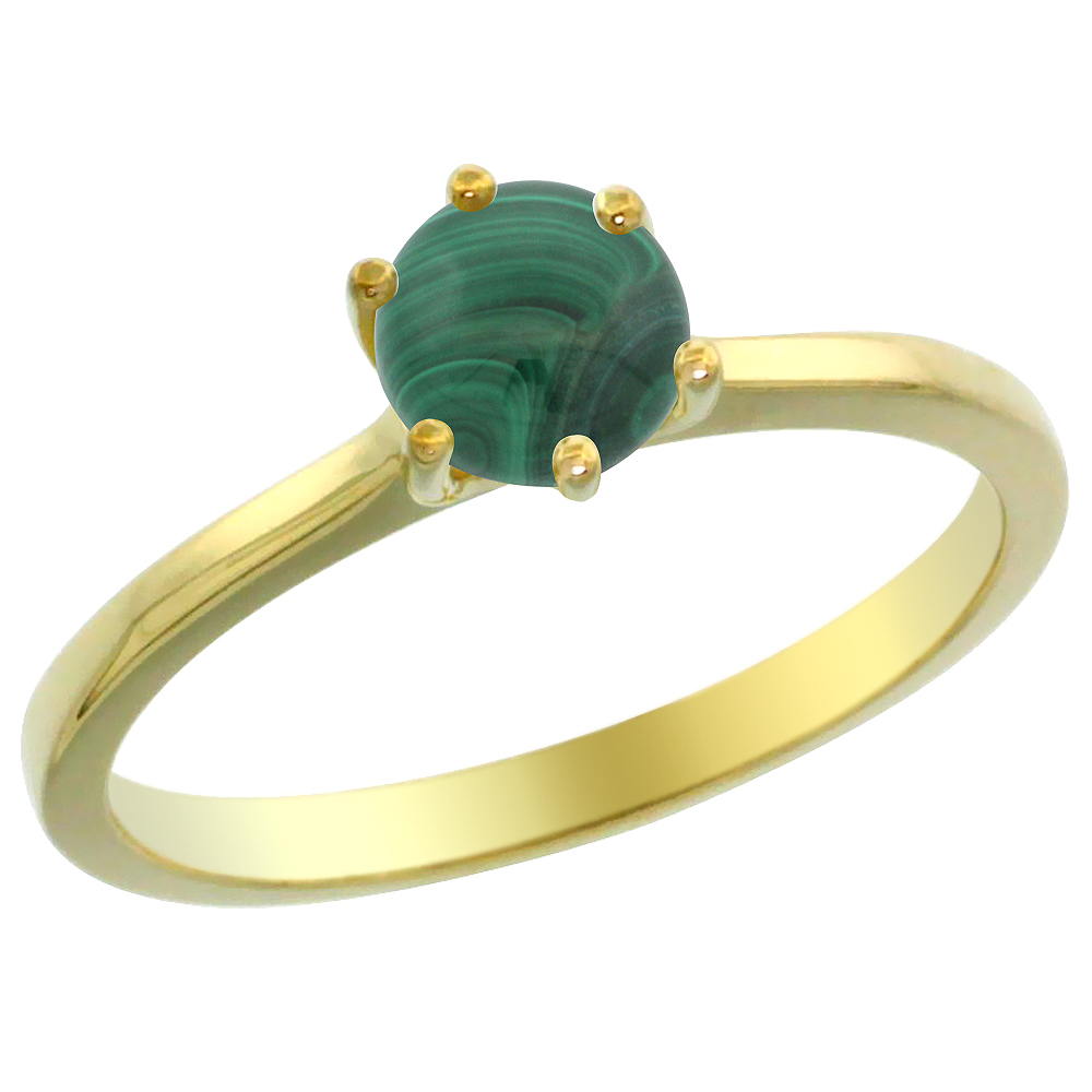 14K Yellow Gold Natural Malachite Solitaire Ring Round 6mm, sizes 5 - 10