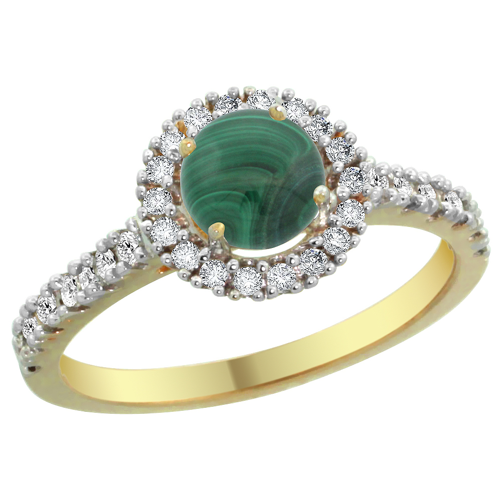 14K Yellow Gold Diamond Halo Natural Malachite Ring Round 6mm, sizes 5 - 10