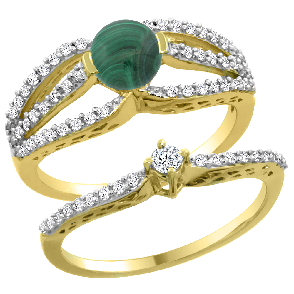 14K Yellow Gold Natural Malachite 2-piece Engagement Ring Set Round 5mm, sizes 5 - 10