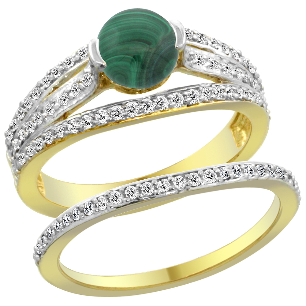 14K Yellow Gold Natural Malachite 2-piece Engagement Ring Set Round 6mm, sizes 5 - 10