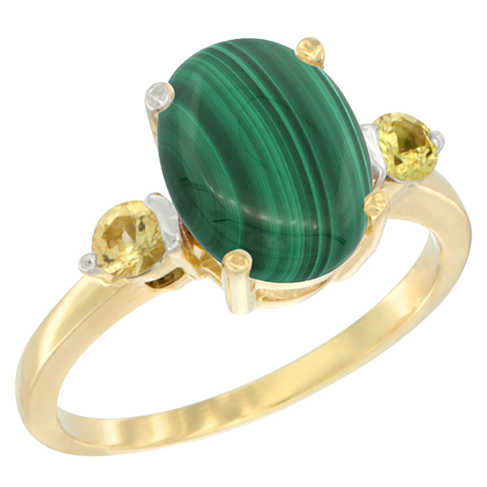 14K Yellow Gold Natural Malachite Ring Oval 10x8mm Yellow Sapphire Accent, sizes 5 - 10