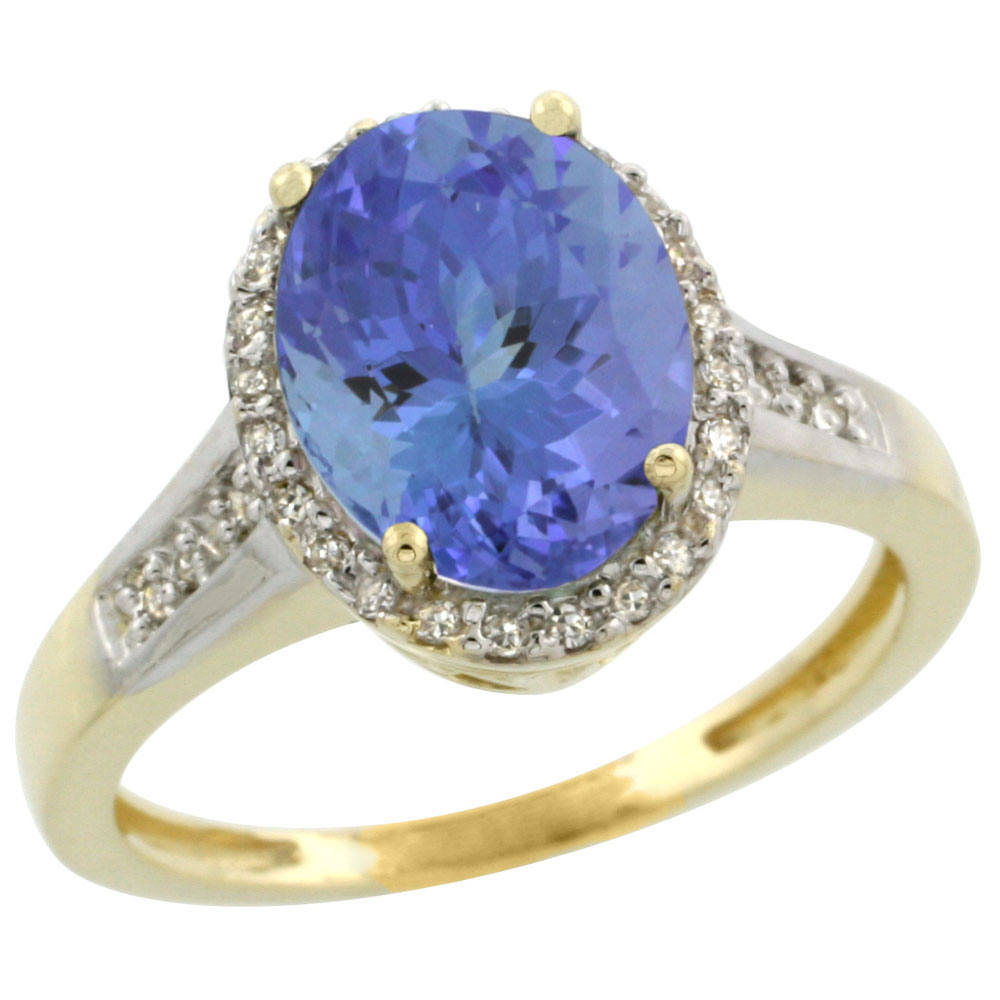 10K Yellow Gold Diamond Natural Tanzanite Engagement Ring Oval 10x8mm, sizes 5-10