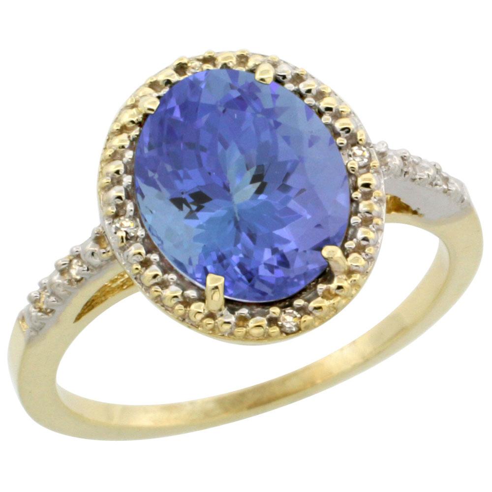 10K Yellow Gold Diamond Natural Tanzanite Engagement Ring Oval 10x8mm, sizes 5-10