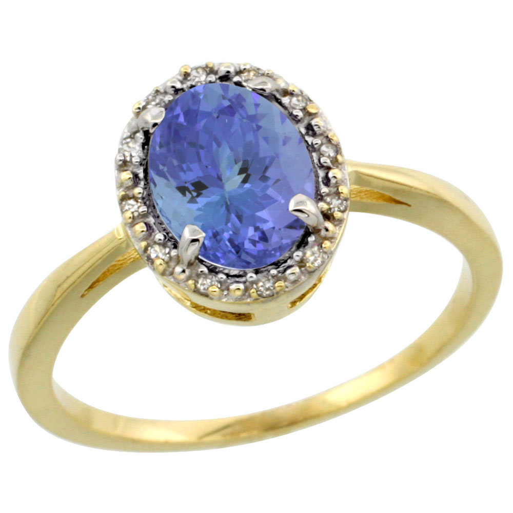 14K Yellow Gold Natural Tanzanite Ring Oval 8x6 mm Diamond Halo, sizes 5-10