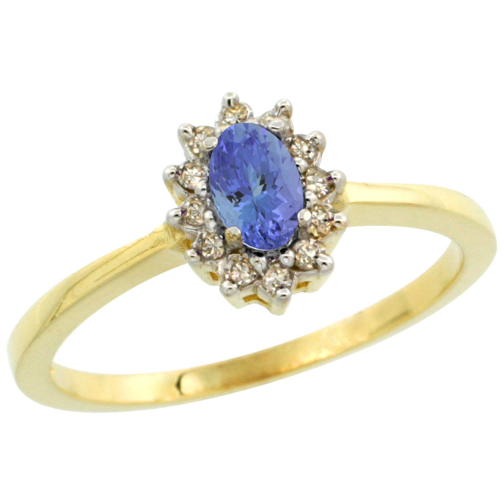 14K Yellow Gold Natural Tanzanite Ring Oval 5x3mm Diamond Halo, sizes 5-10