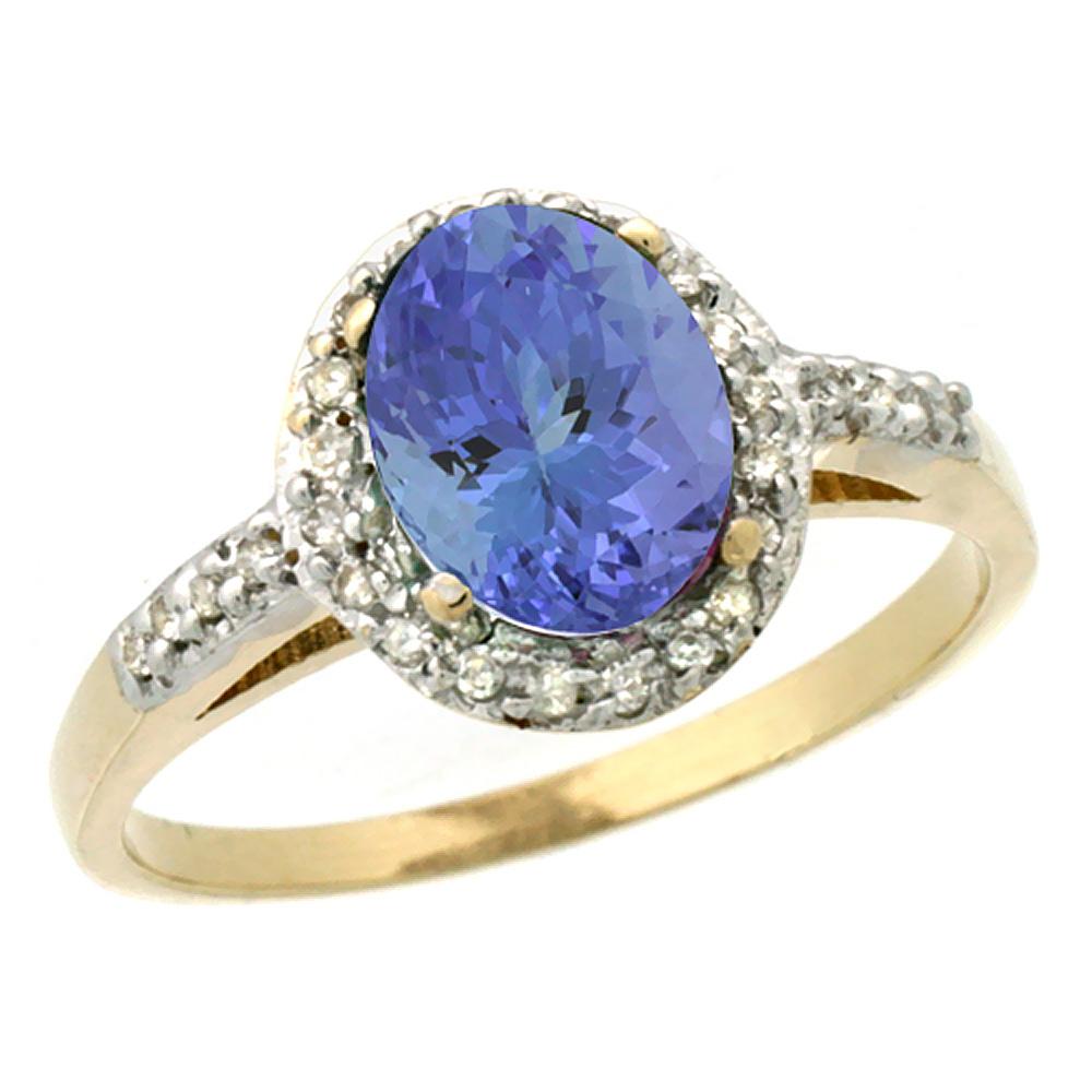 14K Yellow Gold Diamond Natural Tanzanite Ring Oval 8x6mm, sizes 5-10