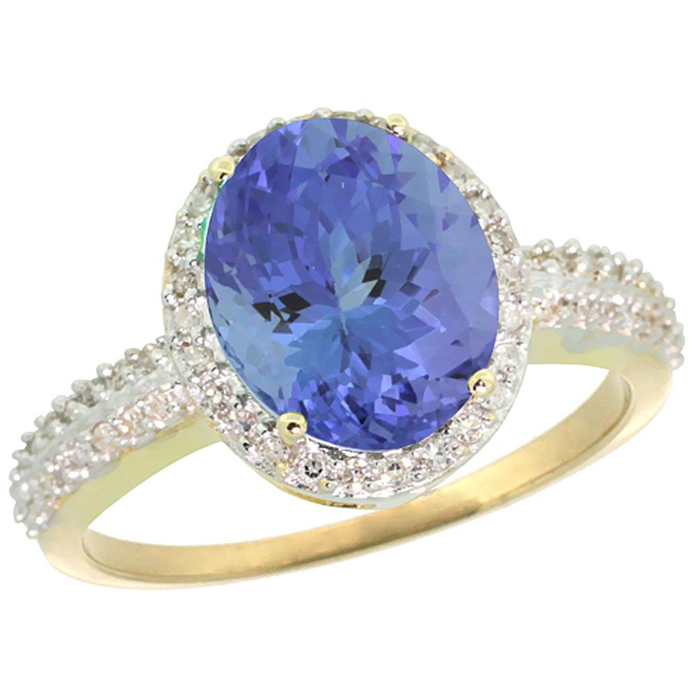 14K Yellow Gold Diamond Natural Tanzanite Engagement Ring Oval 10x8mm, sizes 5-10