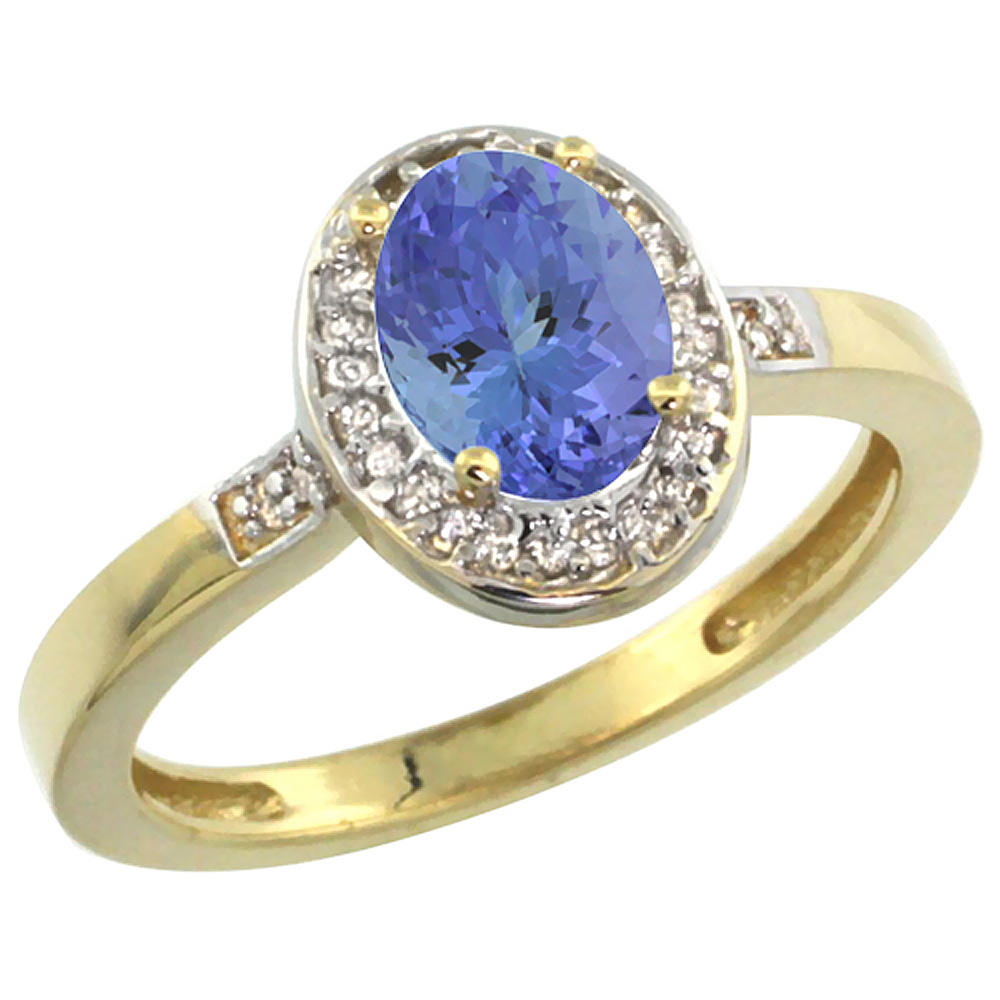 10K Yellow Gold Diamond Natural Tanzanite Engagement Ring Oval 7x5mm, sizes 5-10