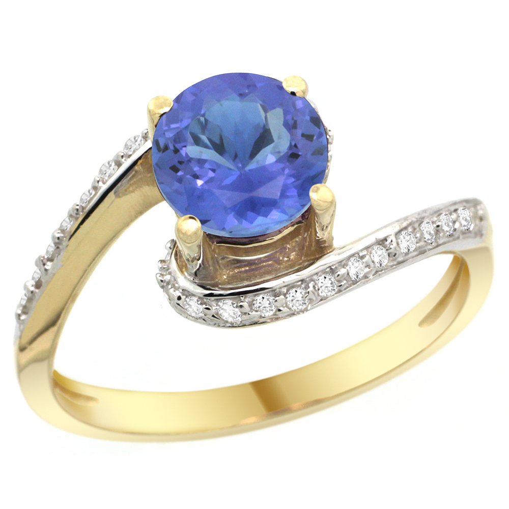 10K Yellow Gold Natural Tanzanite Swirl Design Ring Diamond Accent Round 6mm, 1/2 inch wide