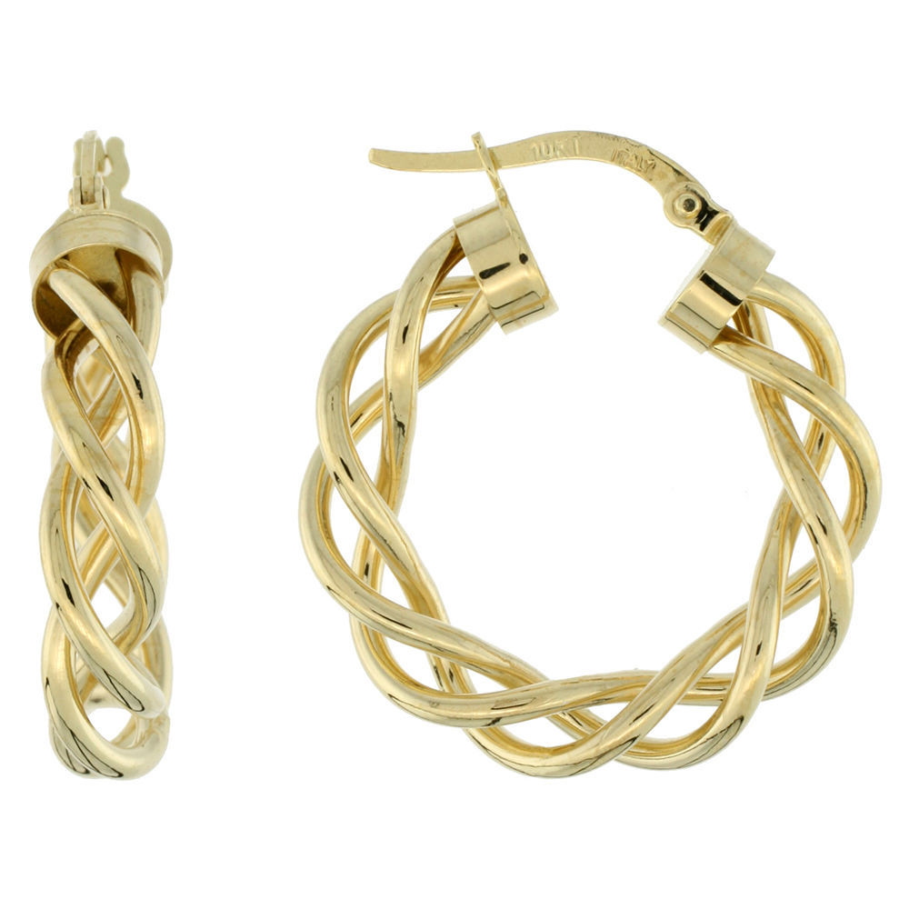 10K Yellow Gold Hoop Earrings Twisted Rope Tubing High Polish Finish Italy 1 inch