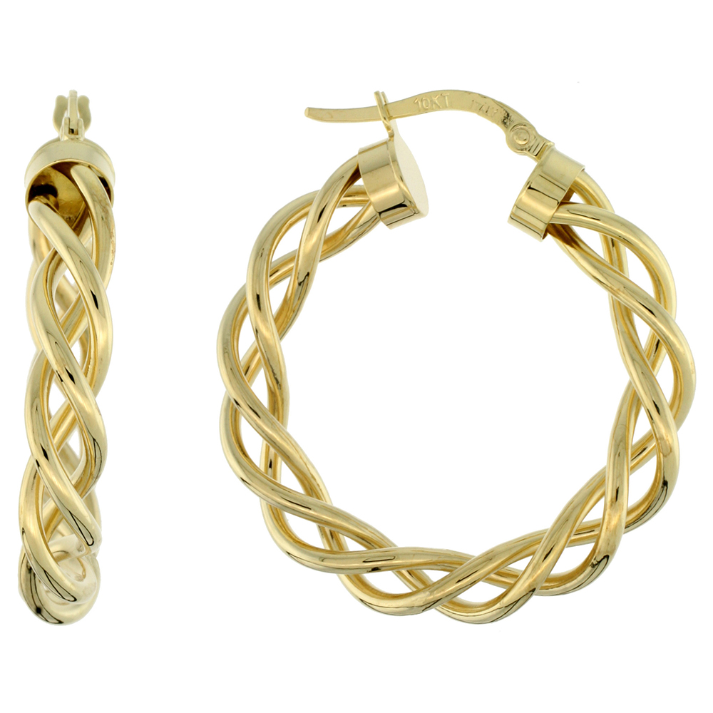 10K Yellow Gold Hoop Earrings Twisted Rope Tubing High Polish Finish Italy 1 1/8 inch