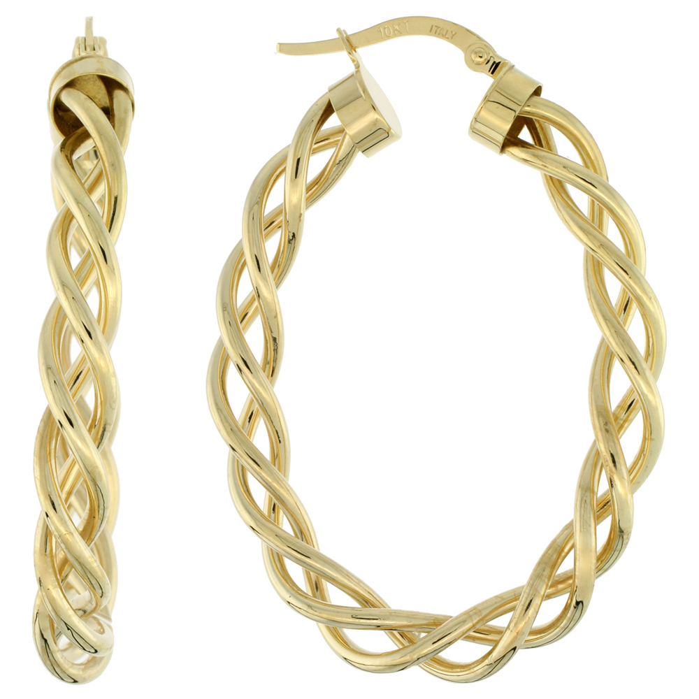 10K Yellow Gold Oval Hoop Earrings Twisted Rope Tubing High Polish Finish Italy 1 1/2 inch