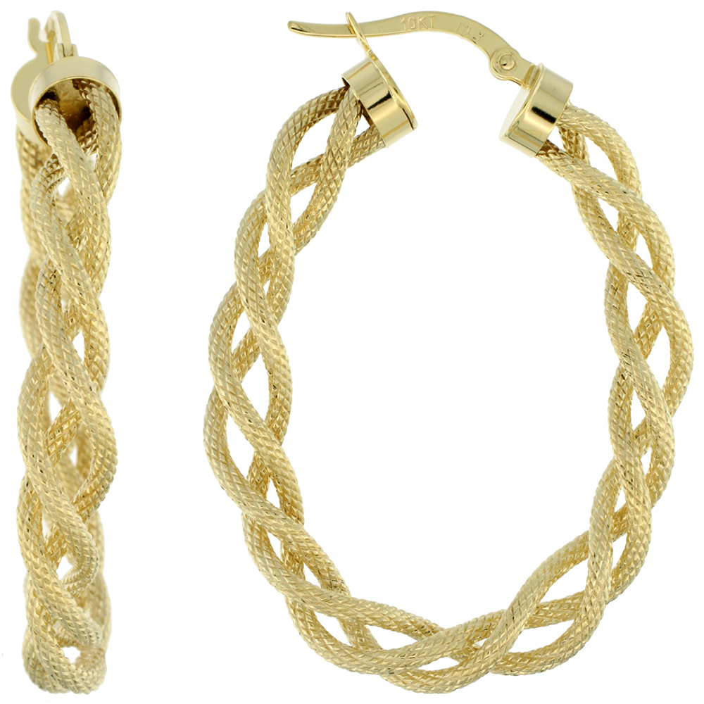 10K Yellow Gold Oval Hoop Earrings Twisted Rope Tubing Textured Finish Italy 1 1/2 inch