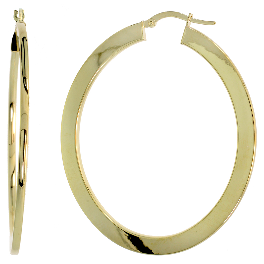 10K Yellow Gold Flat Hoop Earrings Oval Shape High Polished Italy 2 1/16 inch