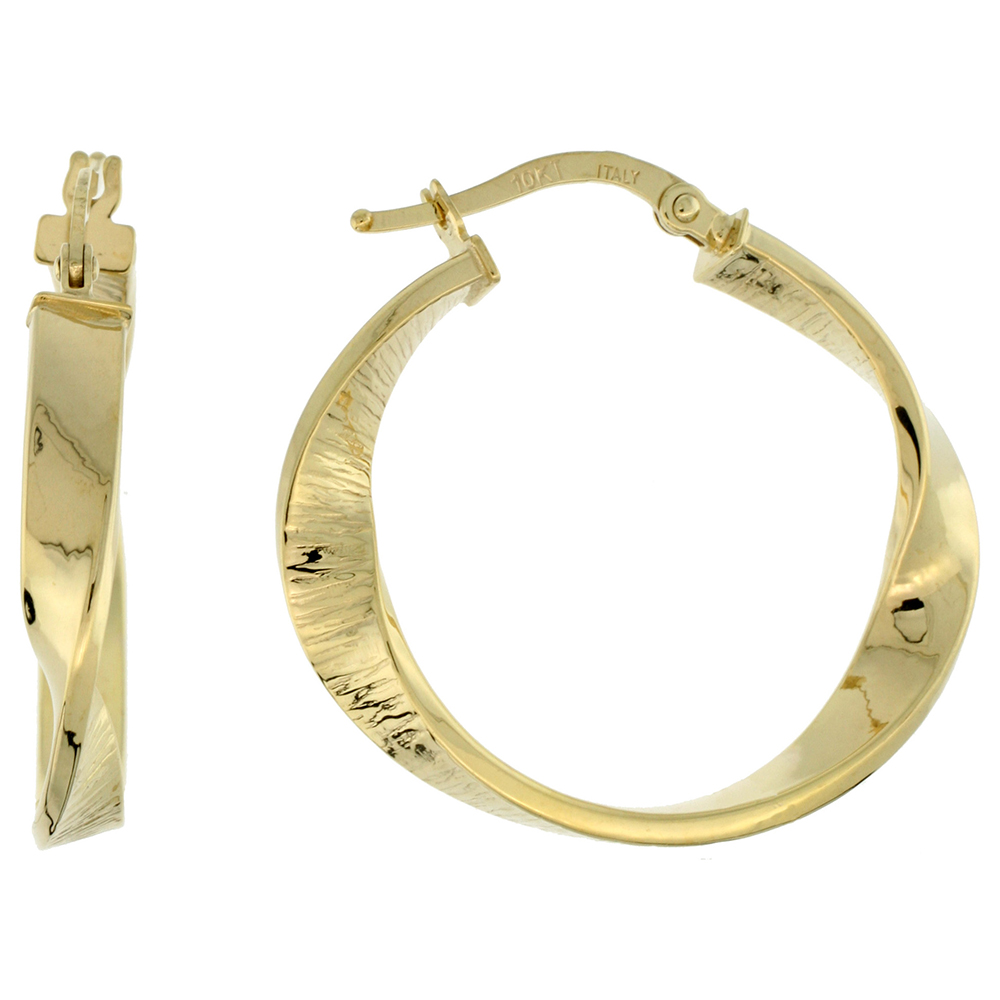 10K Yellow Gold Hoop Earrings Twisted Flat Tubing Textured Finish Italy 1 1/8 inch