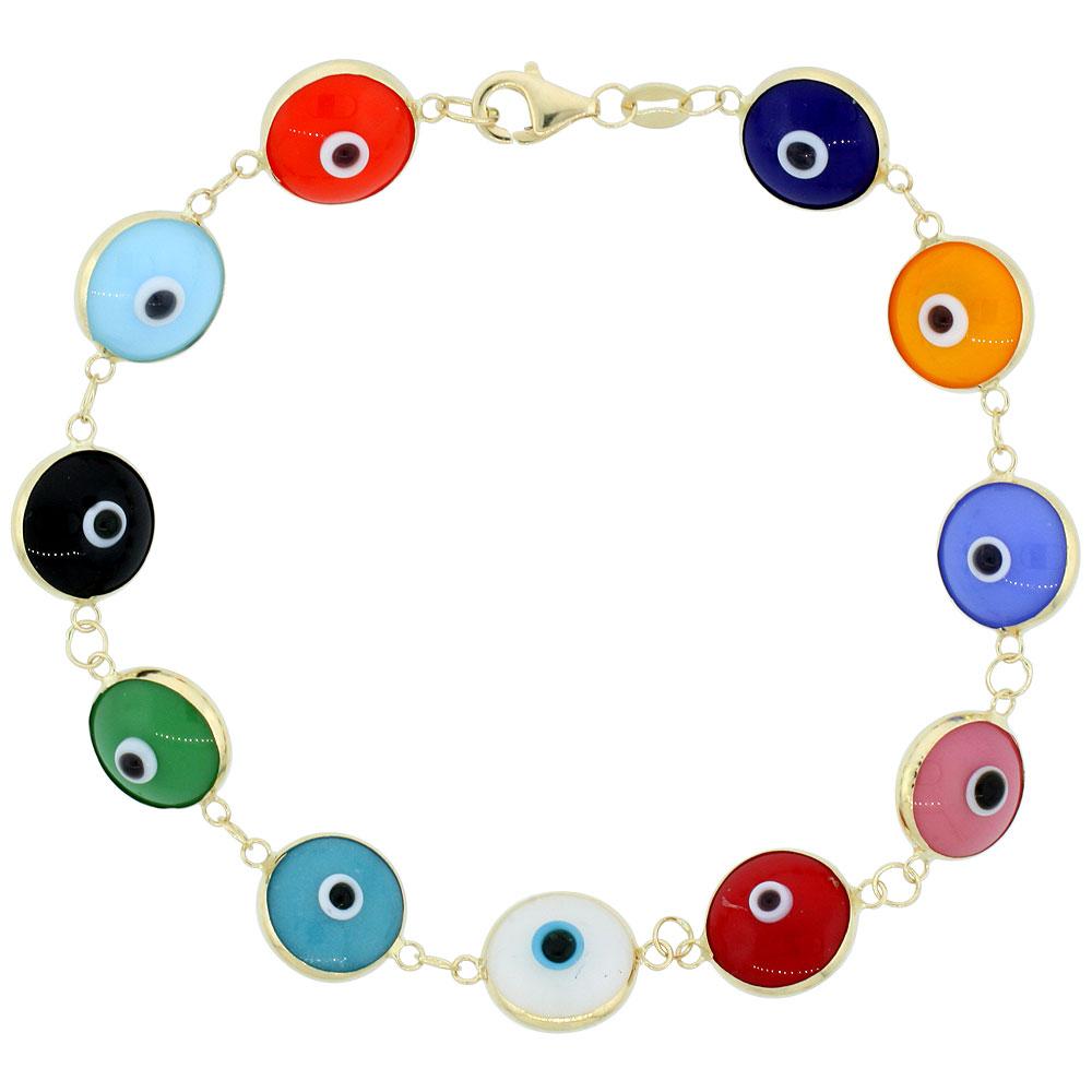 14k Gold Evil Eye Bracelet for women and Girls 10 mm Glass Eyes Multi Color 7 inch