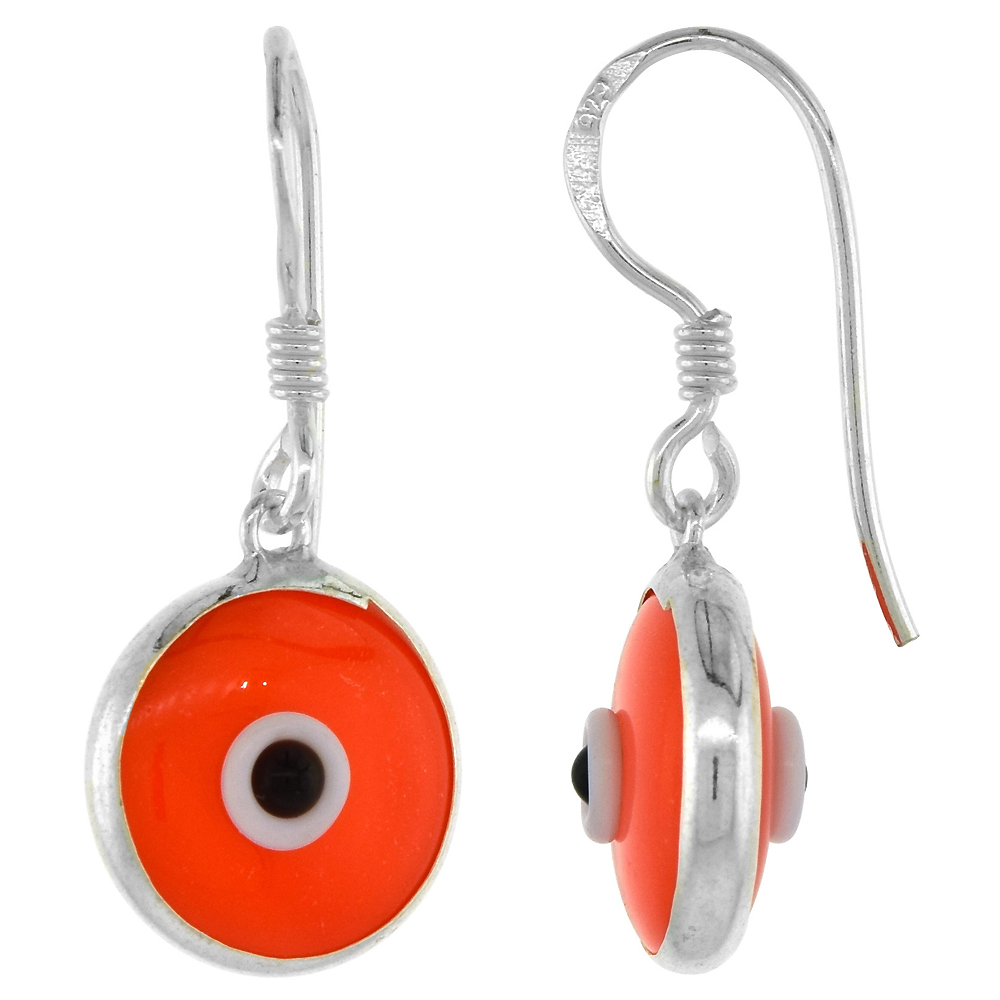 Sterling Silver Orange Color Evil Eye Earrings for Women and Girls 10mm Glass Eyes with Fish Hook