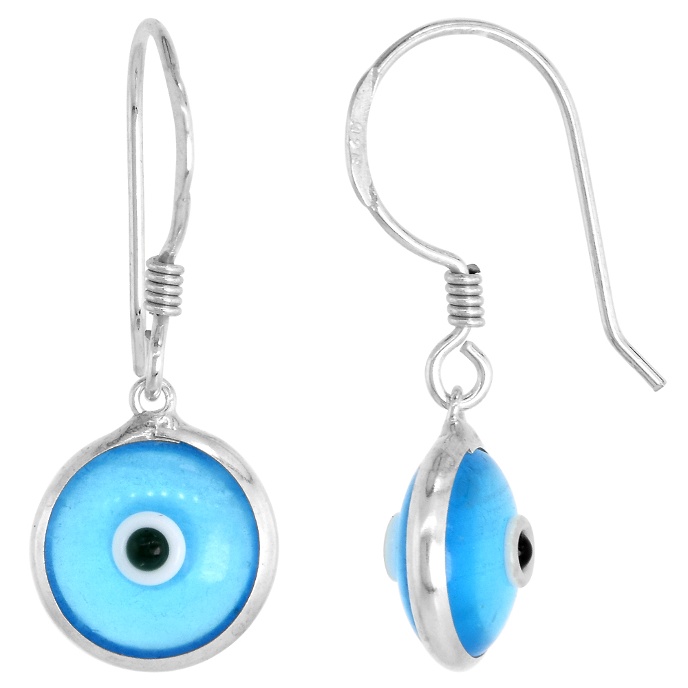 Sterling Silver Clear Sky Blue Color Evil Eye Earrings for Women and Girls 10mm Glass Eyes with Fish Hook