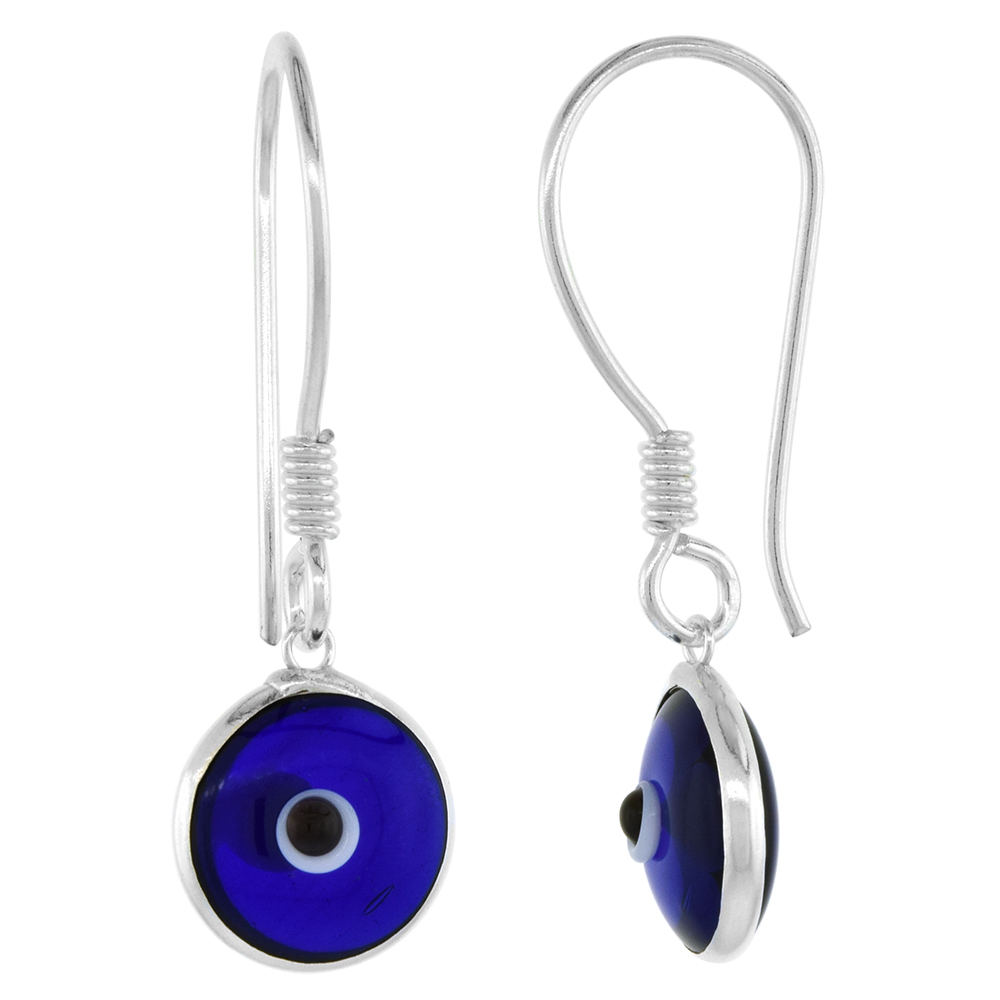 Sterling Silver Evil Eye Earrings Navy Blue Color