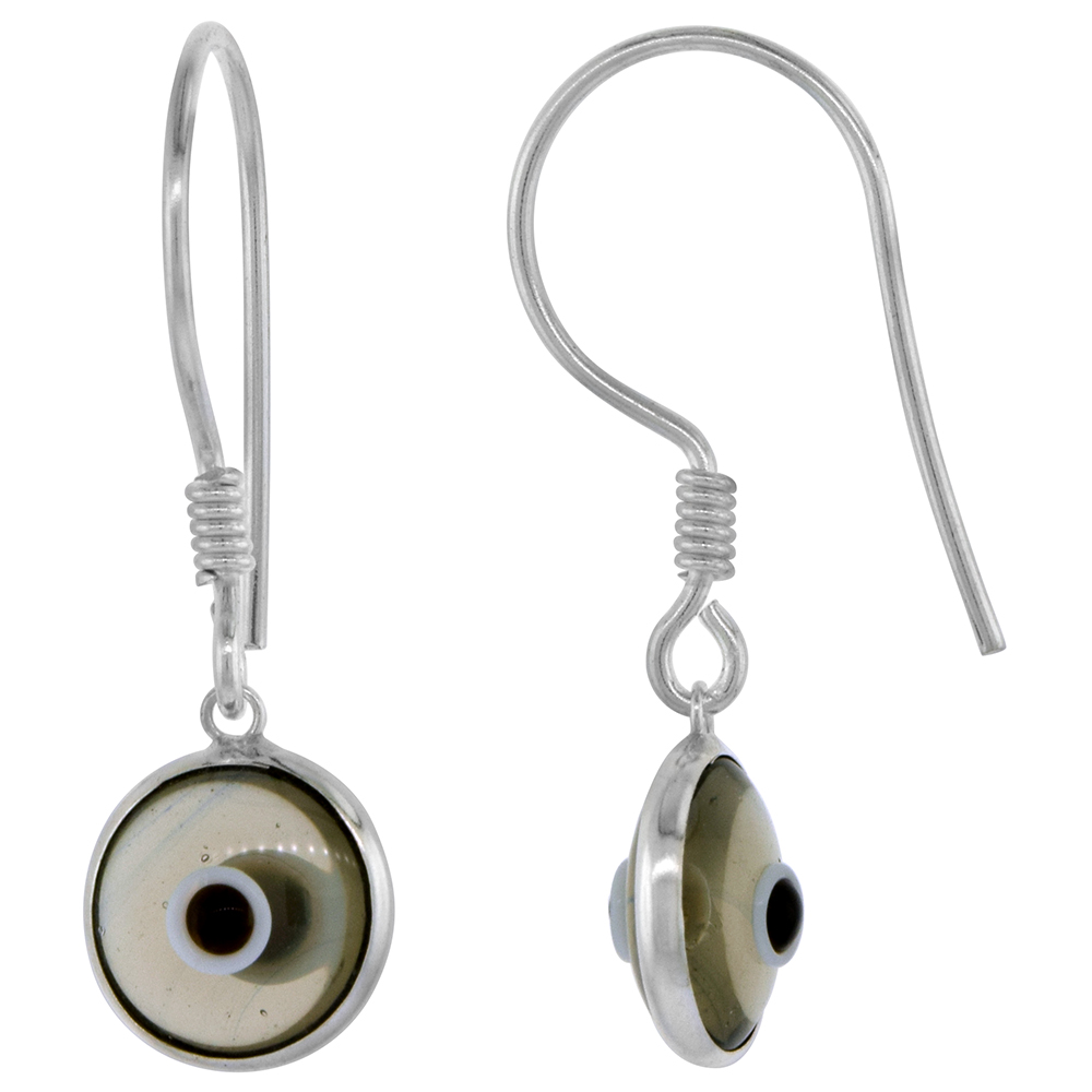 Sterling Silver Clear Smokey Quartz Color Evil Eye Earrings for Women and Girls 10mm Glass Eyes with Fish Hook
