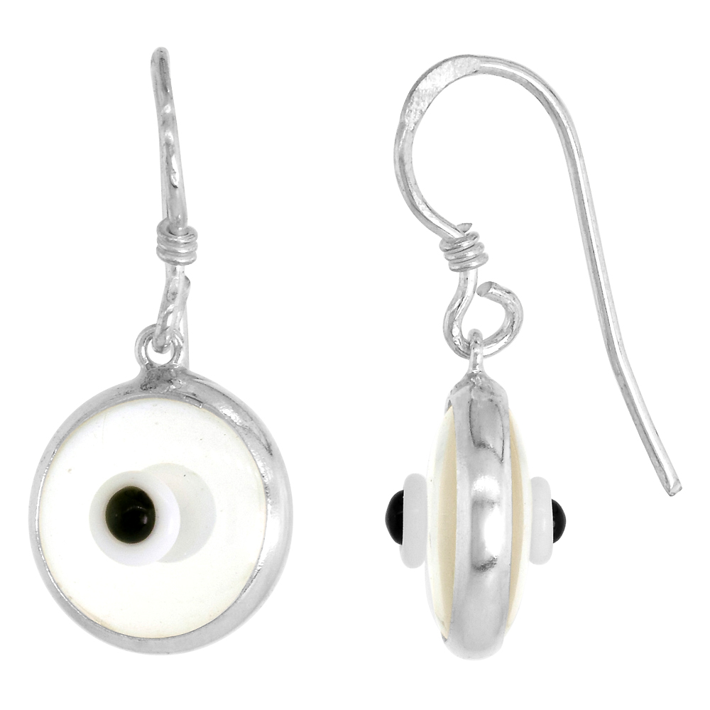 Sterling Silver Clear Color Evil Eye Earrings for Women and Girls 10mm Glass Eyes with Fish Hookless