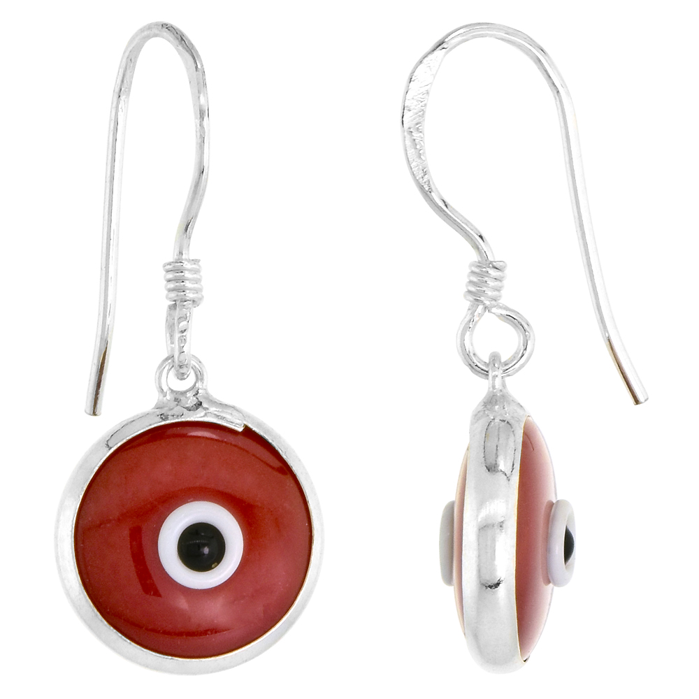 Sterling Silver Burgundy Color Evil Eye Earrings for Women and Girls 10mm Glass Eyes with Fish Hook