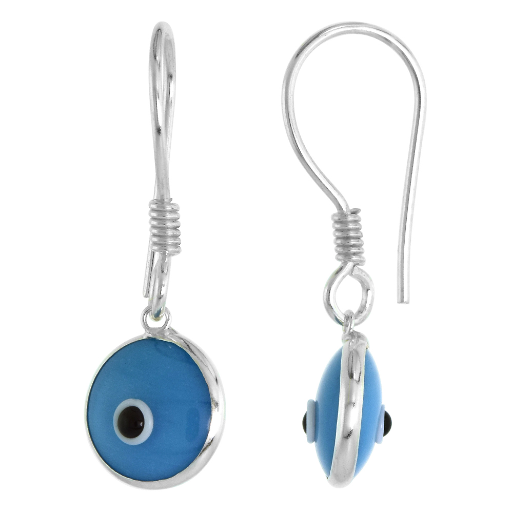 Sterling Silver Turquoise Color Evil Eye Earrings for Women and Girls 10mm Glass Eyes with Fish Hook
