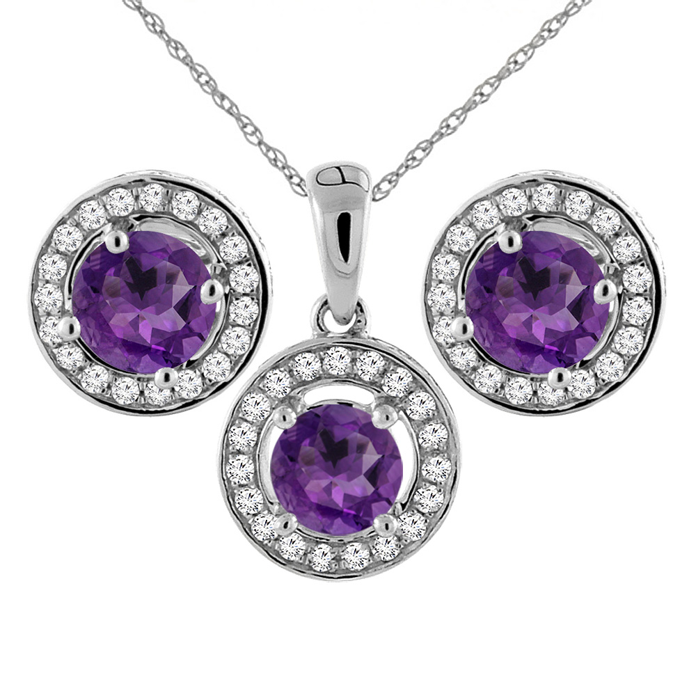 14K White Gold Natural Amethyst Earrings and Pendant Set with Diamond Halo Round 5 mm