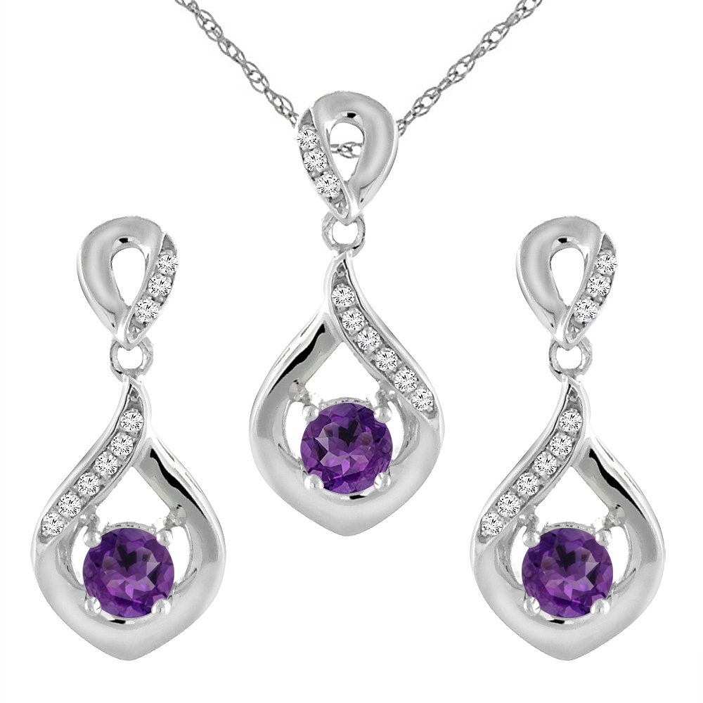 14K White Gold Natural Amethyst Earrings and Pendant Set with Diamond Accents Round 4 mm