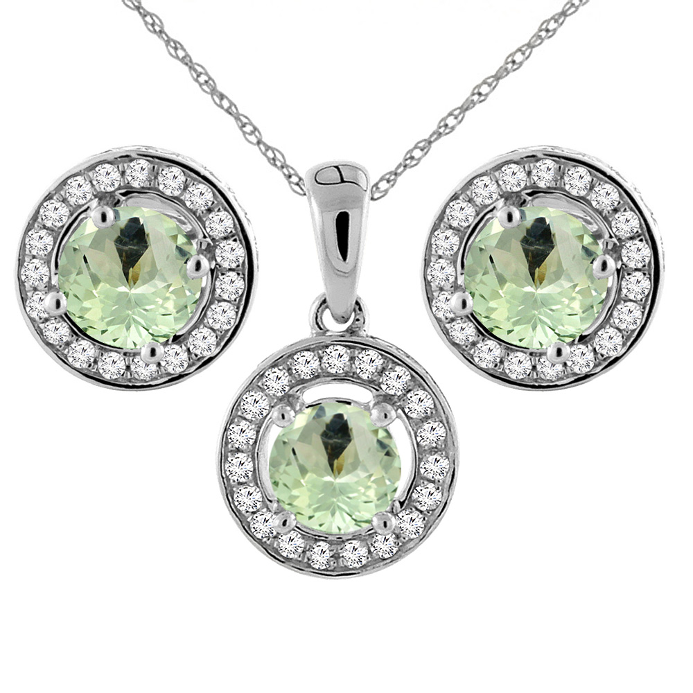 14K White Gold Natural Green Amethyst Earrings and Pendant Set with Diamond Halo Round 5 mm
