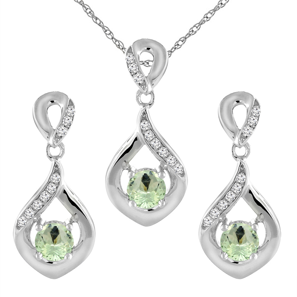 14K White Gold Natural Green Amethyst Earrings and Pendant Set with Diamond Accents Round 4 mm