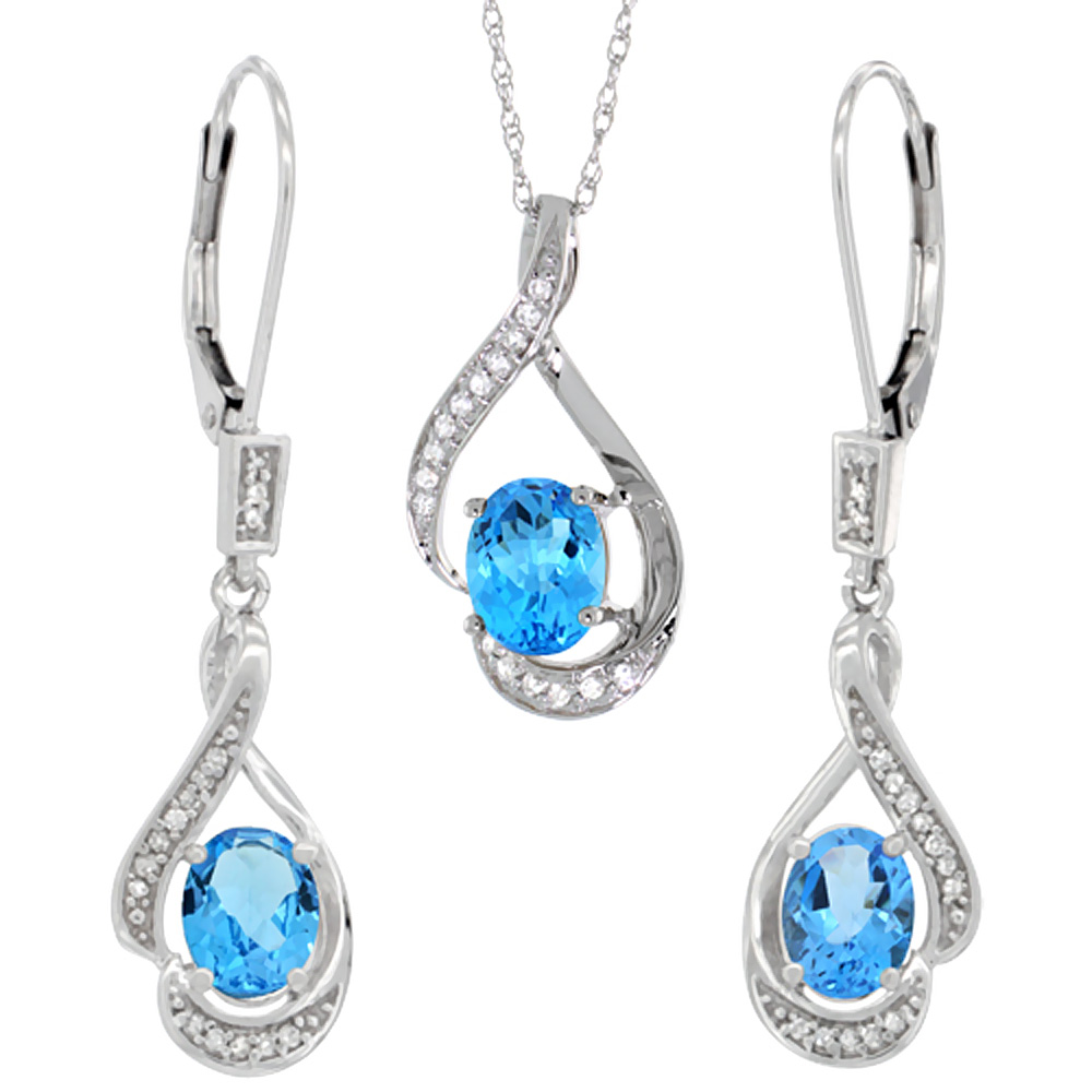 14K White Gold Diamond Natural Swiss Blue Topaz Lever Back Earrings Necklace Set Oval 7x5mm, 18 inch long