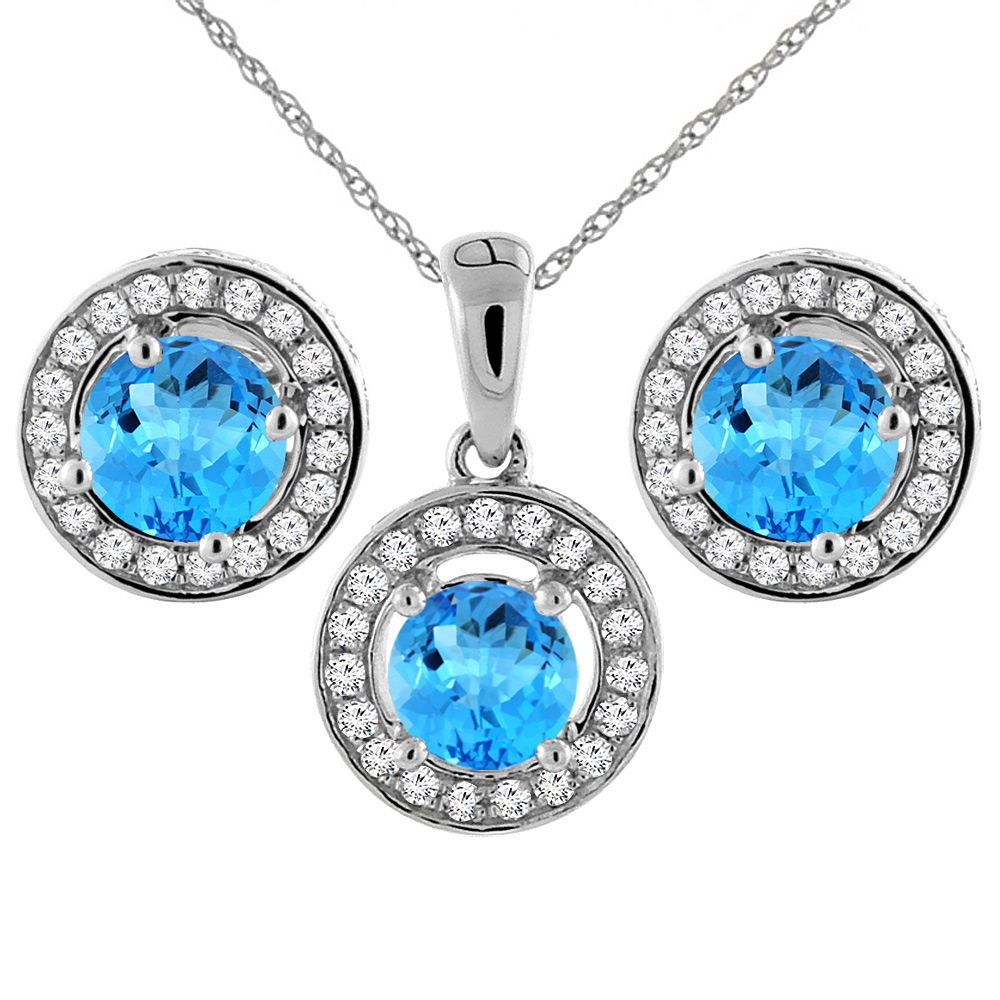 14K White Gold Natural Swiss Blue Topaz Earrings and Pendant Set with Diamond Halo Round 5 mm