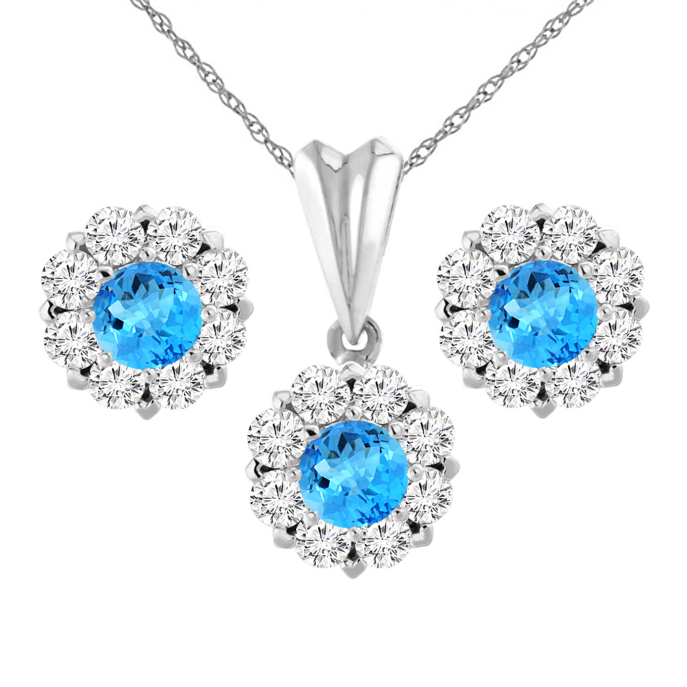 14K White Gold Natural Swiss Blue Topaz Earrings and Pendant Set with Diamond Halo Round 6 mm