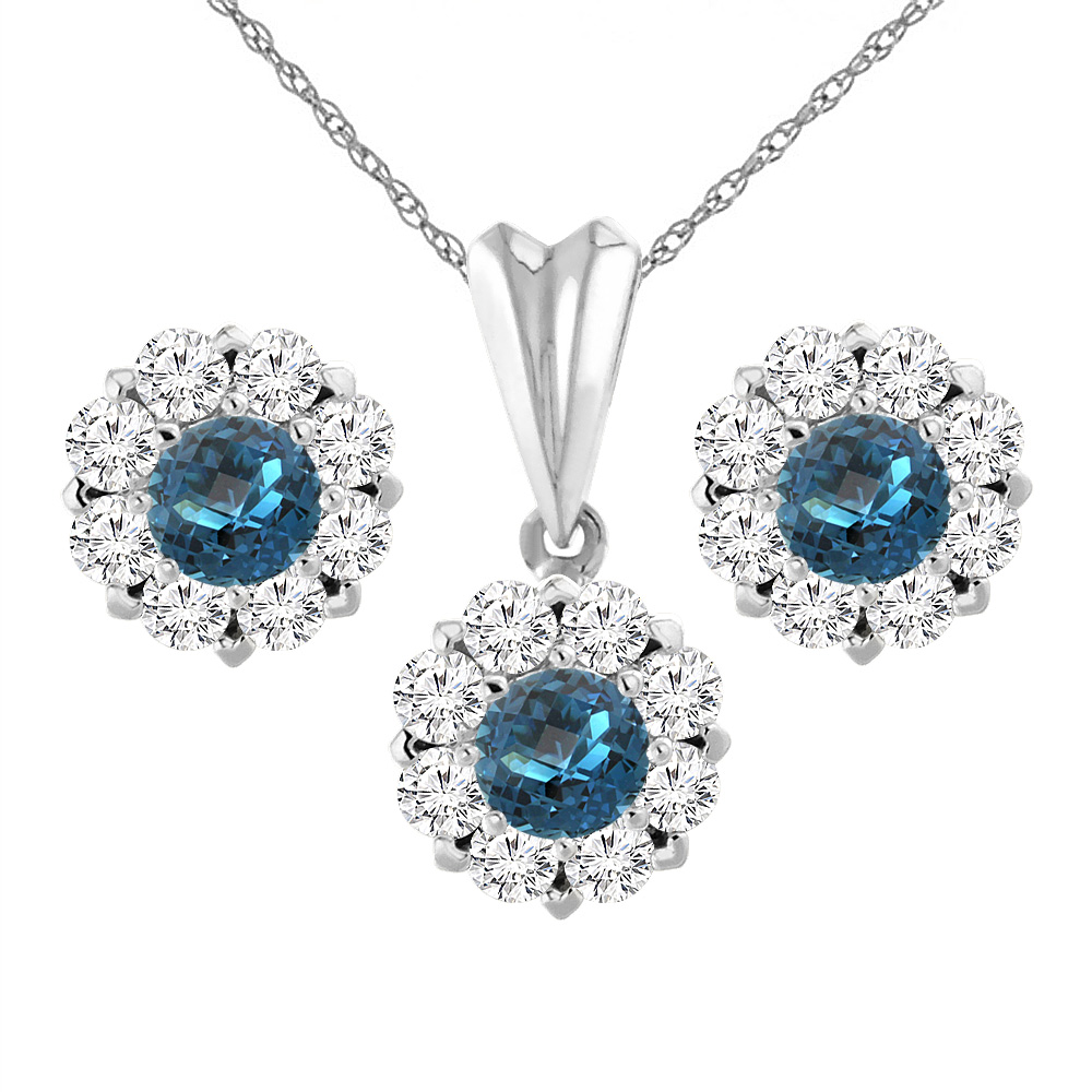 14K White Gold Natural London Blue Topaz Earrings and Pendant Set with Diamond Halo Round 6 mm