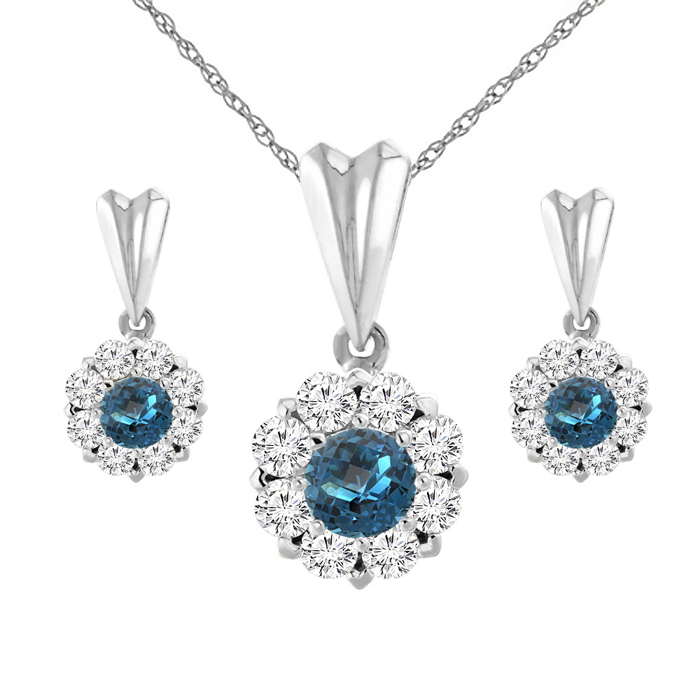 14K White Gold Natural London Blue Topaz Earrings and Pendant Set with Diamond Halo Round 4 mm