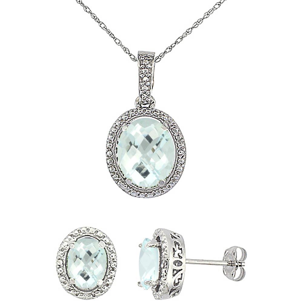 10K White Gold Diamond Natural Amethyst Oval Earrings & Pendant Set