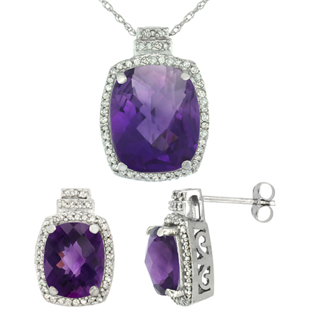 10K White Gold Diamond Natural Amethyst 8x6mm Earrings & 11x9mm Pendant Set Octagon Cushion