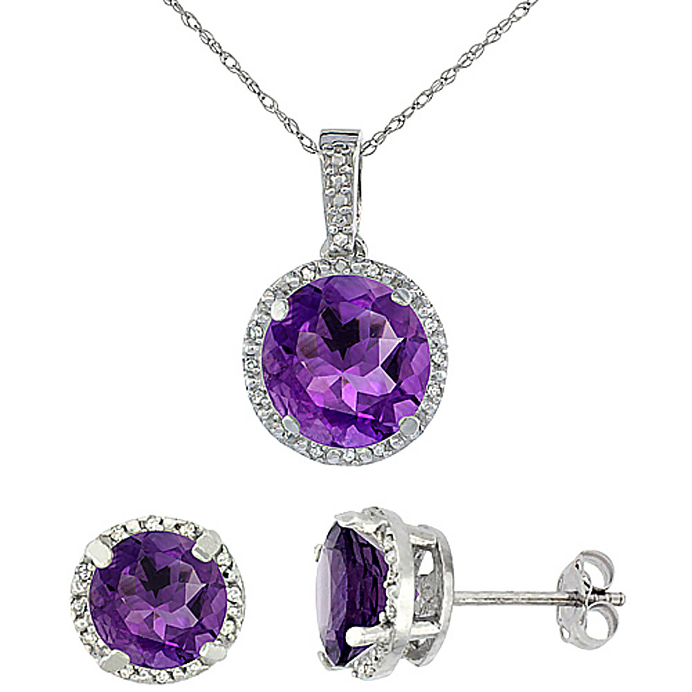 10K White Gold Natural Round Amethyst Earrings & Pendant Set Diamond Accents