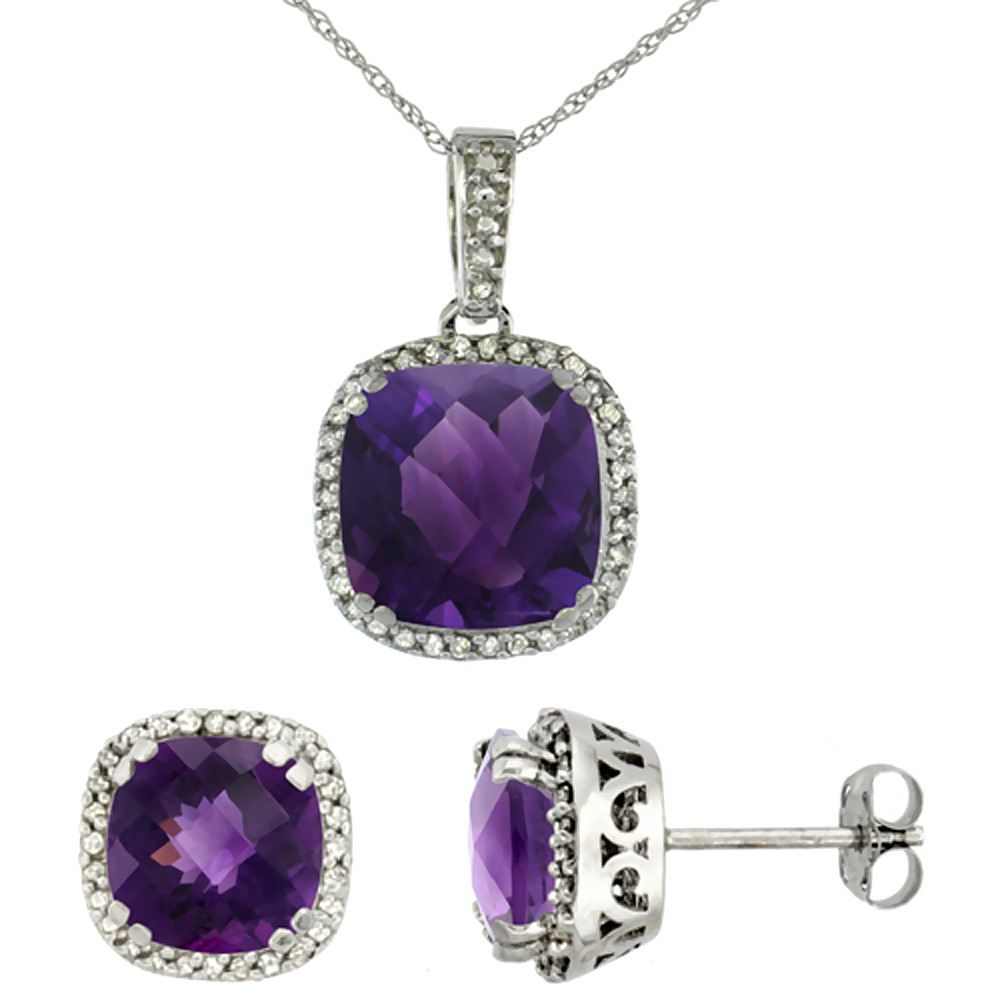10k White Gold Diamond Halo Natural Amethyst Earring Necklace Set 7x7mm & 10x10mm Cushion Shaped, 18 inch