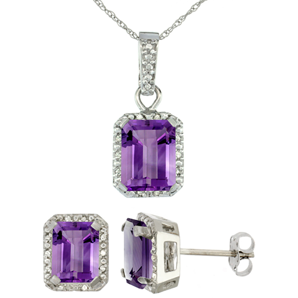 10K White Gold Natural Octagon 8x6 mm Amethyst Earrings & Pendant Set Diamond Accents