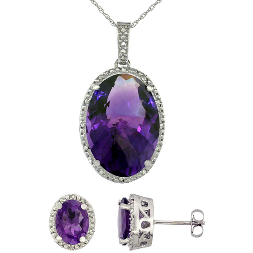 10K White Gold Diamond Natural Oval Amethyst Earrings & Pendant Set