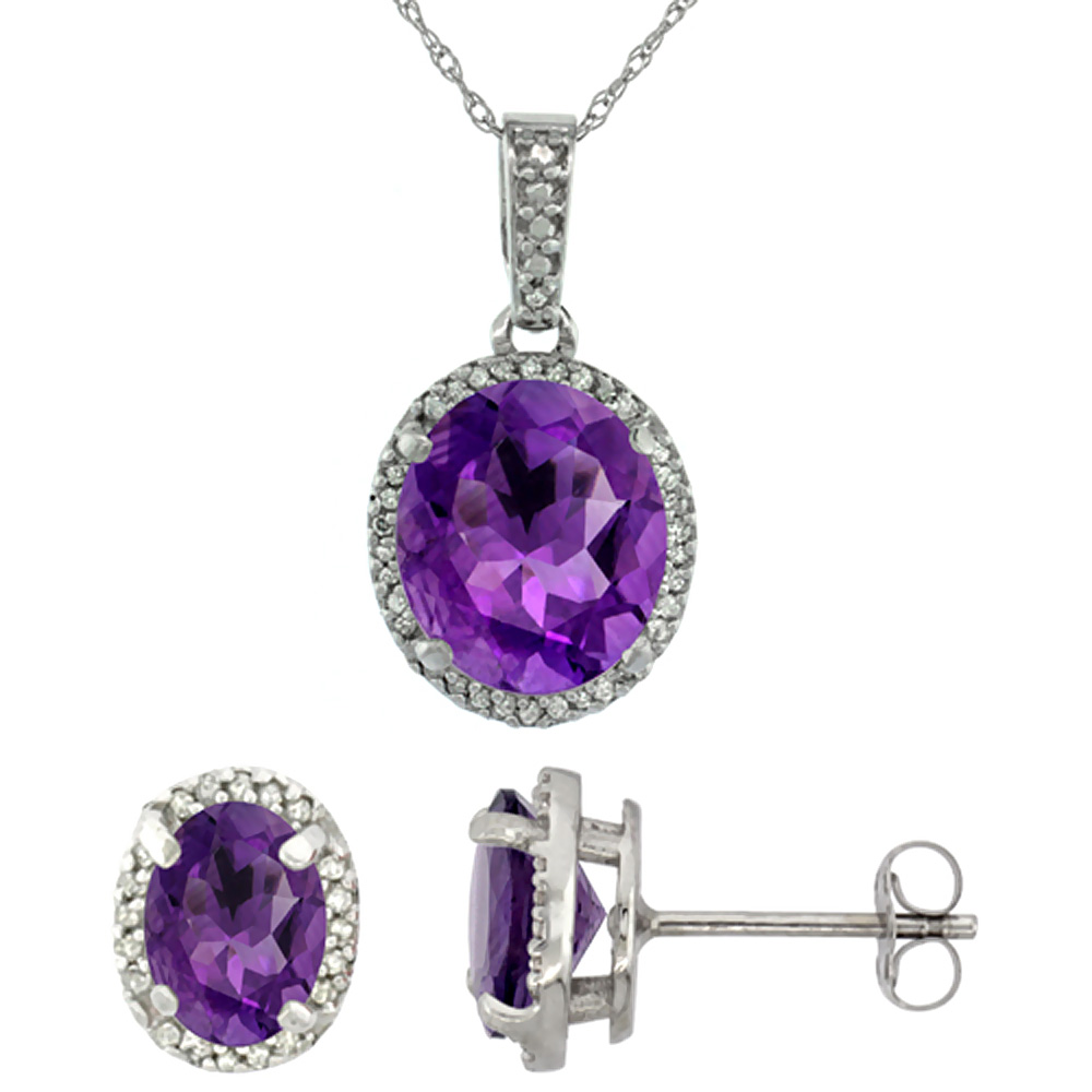 10K White Gold Diamond Natural Amethyst Oval Earrings & Pendant Set
